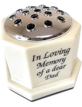Heavy /& Sturdy Pot Container for Graveside Flower Arrangements INERRA Memorial Grave Vase Ivory with Silver Lid Brother