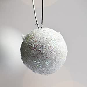 """Darice Christmas Iridescent Sparkle Snowball Ornaments White 2 3/4"""" Package of 12"""