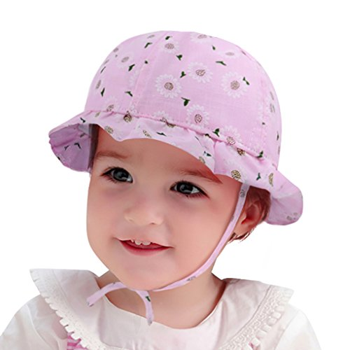 (Baby 6-12 Months Breathable Ruffled Sun Hat with Adjustable Chin Strap Pink)