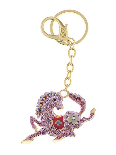 Alilang Sparkling Metal Horse Key Chains for Women Girls Gifts Car Purse Animal Pendant Charms£¨Pink£ -