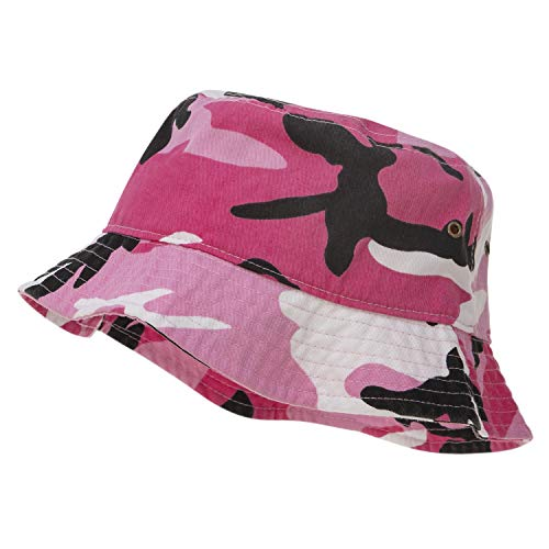 (Bandana.com 100% Cotton Bucket Hat for Men, Women, Kids - Pink Camo - Single Piece - Large/Extra Large Size - Summer Cap Fishing)