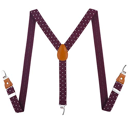 Toddlers Kids Boys Mens Suspenders - Y Back Adjustable Strong Clips Synthetic Leather Suspenders (Wine red & white wave point, 23.6 Inch (7 Months - 3 Years)) ()