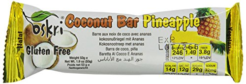 Bar Pineapple - Oskri Coconut Bar with Pineapple, Gluten Free, 1.9-Ounce Bars (Pack of 20)