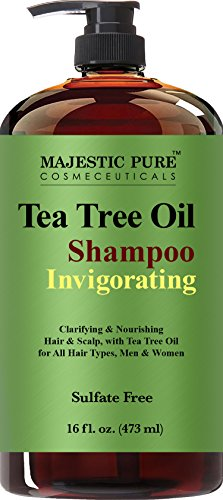 Tree Cleansing Tea Shampoo (Tea Tree Oil Hair Shampoo, Sulfate Free with 5% Tea Tree Essential Oil, Deep Cleansing for Dandruff, Dry Scalp and Itchy Hair, for Men & Women- 16 fl oz)