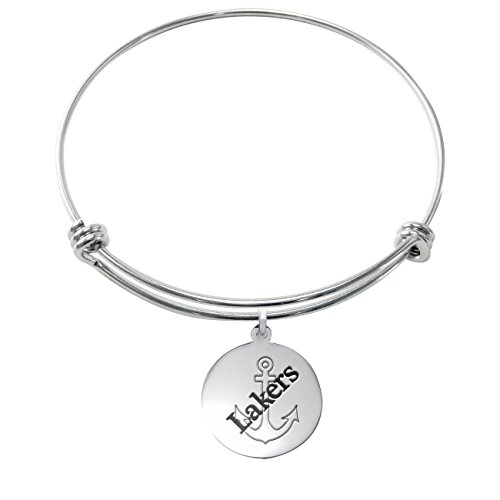 Lake Superior State Lakers Stainless Steel Adjustable Bangle Bracelet with 17mm Round Charm by College Jewelry