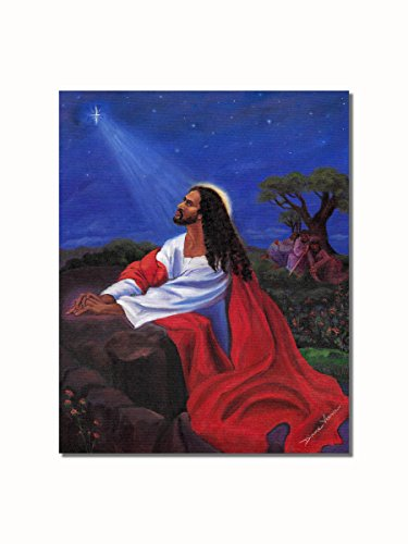African American Black Jesus Praying at Gethsemane Rock Wall Picture 8x10 Art Print (Black Jesus Picture)