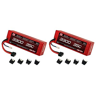 Venom 35C 3S 3300mAh 11.1V LiPo Hard Case Battery with Universal Plug (EC3/Deans/Traxxas/Tamiya) x2 Packs