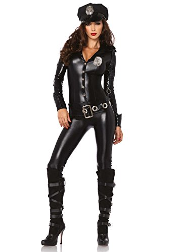 Leg Avenue 4 Piece Officer Payne Lame Police Jumpsuit Costume, Black, Small (Sexy Halloween Costume Stores)