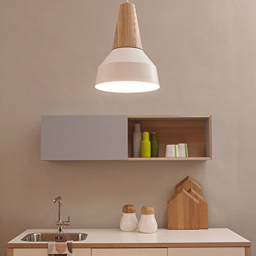 BOKT 60W Edison Lights Modern Industrial Pendant Lamp Colorful Hanging Chandelier Shade Light E26/E27 Base Painted Finish Solid Wood Series Single Head (A-White) by BOKT (Image #2)