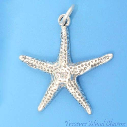 Starfish Ocean Sea Star Fish 3D 925 Solid Sterling Silver Charm Pendant USA Made Crafting Key Chain Bracelet Necklace Jewelry Accessories Pendants -