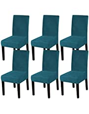 Turquoize Stretch Dining Room Chair Slipcovers Sets Velvet Stretch Chair Furniture Protector Covers Removable Washable Elastic Bottom Chair Cover for Dining Room