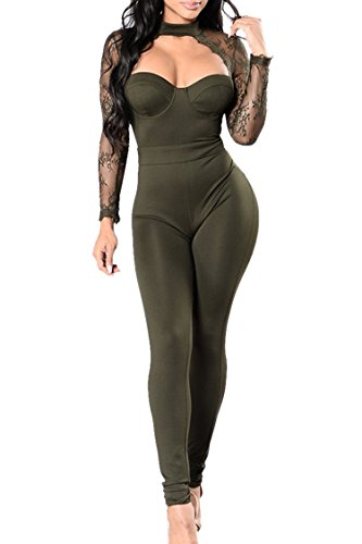 Sexy Military Outfit (Fixmatti Lady Sexy Army Green Lace Halter Hollow Out Bodycon Tight Romper Jumpsuit Club S)