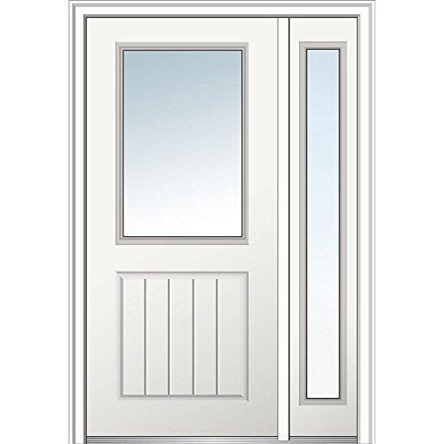 National Door Company Z029437L Fiberglass Smooth, Primed, Left Hand in-Swing, Exterior Prehung Door, Clear Glass 1/2 Lite 1-Panel Planked, 36