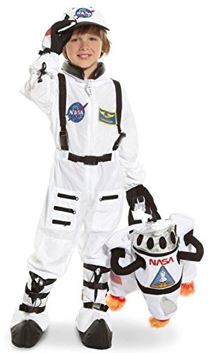 Aeromax Jr. Astronaut Suit with Embroidered Cap and NASA patches, WHITE, Size 4/6