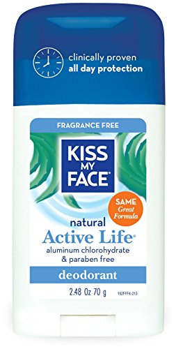 Kiss My Face Aluminum & Paraben Free Active Life Deodorant Stick, Fragrance Free - 2.48 oz