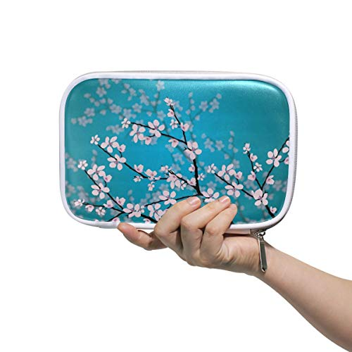 WXLIFE Japanese Sakura Cherry Blossom Multi-Functional Zippered Cosmetic Bags Travel Pouch Bag Makeup Passport Holder Storage Pencil Case Pen Bag for Kids Boy Girls School ()