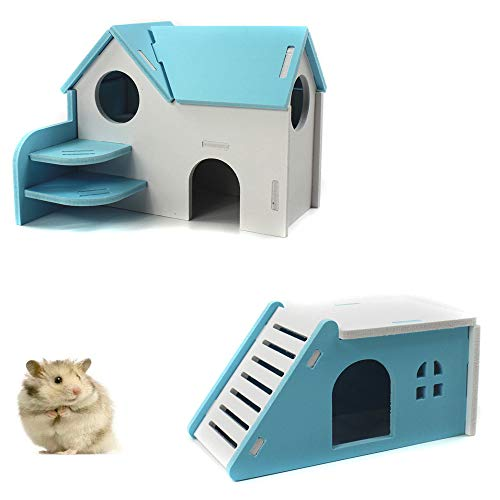 (PIVBY Hamster Hideout House Wooden Living Hut Exercise Funny Nest Toy for Mouse, Chinchilla, Rat, Gerbil and Dwarf Hamster-2 Packs (Blue))