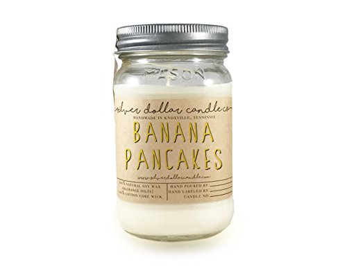16oz Banana Pancakes Mason Jar Scented Soy Candle | The Essentials Collection | Natural Eco-Friendly Hand-Poured Soy Wax by Silver Dollar Candle Co. ()