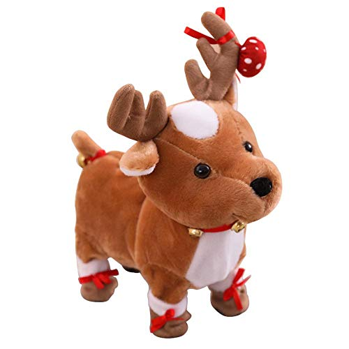 FOONEE Christmas Electric Dancing Singing Reindeer Ornament Stuffed Animal for Animated Christmas Decorations, Home Decor, Gag ()