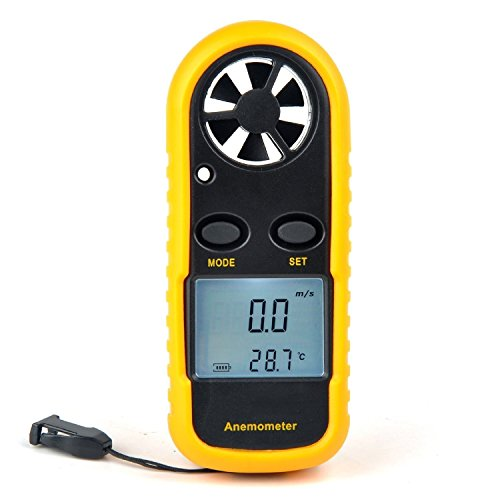 Weather Instruments Anemometer (Anemometer, Digital LCD Wind Speed Meter Gauge Air Flow Velocity Measurement Thermometer for Windsurfing Kite Flying Sailing Surfing Fishing)