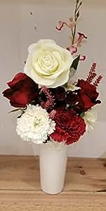 Jarrón fúnebre flor artificial para cementerio. Flores rojas y blancas. 40cm altura