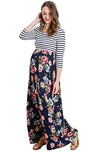 Hello MIZ Women's Floral Color Block Stripe Maxi Maternity Dress - Made in USA (Navy/Pink Flower, L) by Hello MIZ