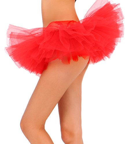 Tutu Skirt for Women Tulle 5 Layered Ballerina Dancer Tutu Dress up Mini Skirt-Red (Womens Red Tutu Skirt)