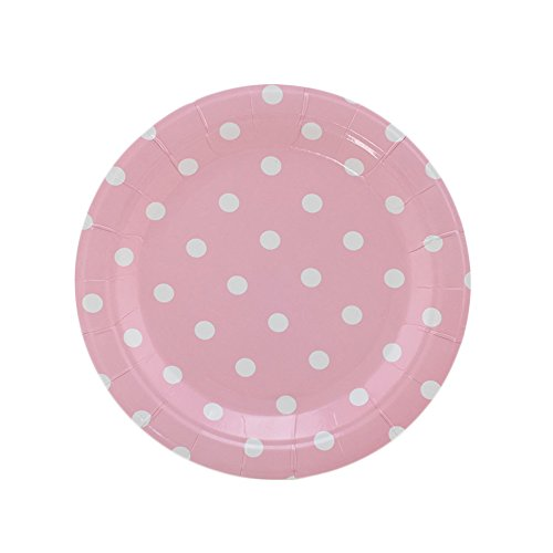 SOCOSY Pink Polka Dot Round Paper Plates Disposable Plates Paper Dessert Plates Snack Plate for Party Birthday Wedding Catering - Dessert Pink Plates 7' Paper