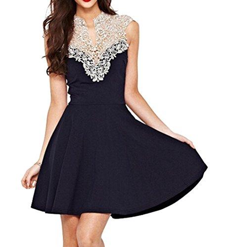 HENG SONG Women Elegant Sleeveless Floral Lace Crochet Patchwork Silmming Dresses (L)