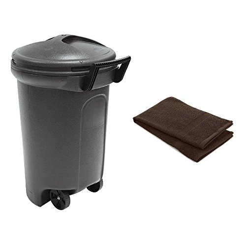 United Solutions 32 Gal. Wheeled Blow Molded Outdoor Trash Can in Black - 1 Pack with FREE 1 Hand Towel
