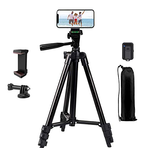 Phone Tripod, LINKCOOL 42 inches Portable Adjustable Cell Phone Tripod Stand with Phone Mount & Wireless Control Remote…
