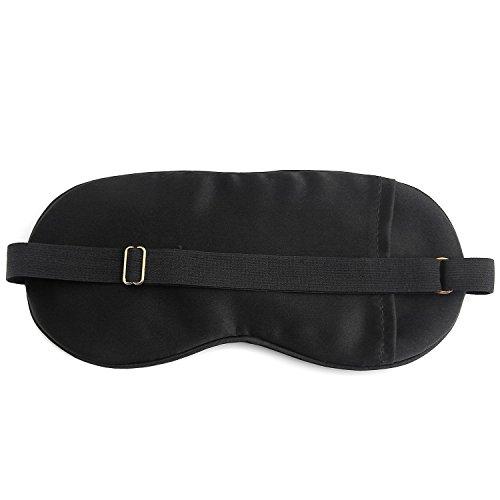 Dealgadgets Eye Mask 100% Pure Silk Sleep Mask with Adjustable Velcro Strap Super-Smooth (Silk Mask, Black)