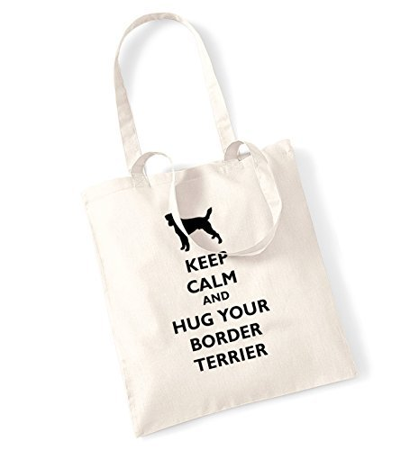 (Keep Calm And Hug Your Border Terrier Tote Bag Funny Canvas Totes Shopping Bags Shopper Tote Causal Gifts for Women for Men)