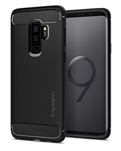 Spigen Rugged Armor Galaxy S9 Plus Case with Flexible and Durable Shock Absorption with Carbon Fiber Design for Samsung Galaxy S9 Plus (2018) - Matte Black