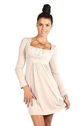 Futuro Fashion Divine Mujer Vestido Mini Cuello Cuadrado manga larga 2914 Beige beige 36/38