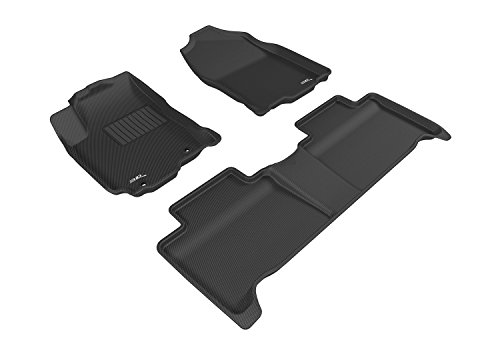 3D MAXpider Complete Set Custom Fit All-Weather Floor Mat for Select Toyota RAV4 Hybrid Models - Kagu Rubber (Black)