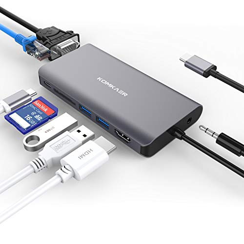 USB C Hub, Type C Adapter with 4K HDMI, 1000M Ethernet, SD Card Reader, 2 USB 3.0 Ports, 1080P VGA, USB C PD Charging, 3.5mm Audio Output, Multiport Hub for MacBook Pro ChromeBook More Type C Laptops ()