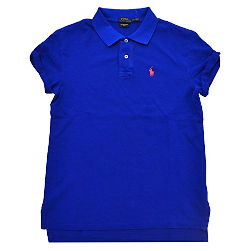 Polo Ralph Lauren Women's Boyfriend Fit Mesh Polo Shirt (M, Sapphire - Lauren Polo Ralph Ladies