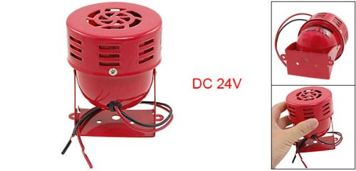 uxcell DC 24V Metal Red Housing Siren Horn Alarm 114dB for Truck Car