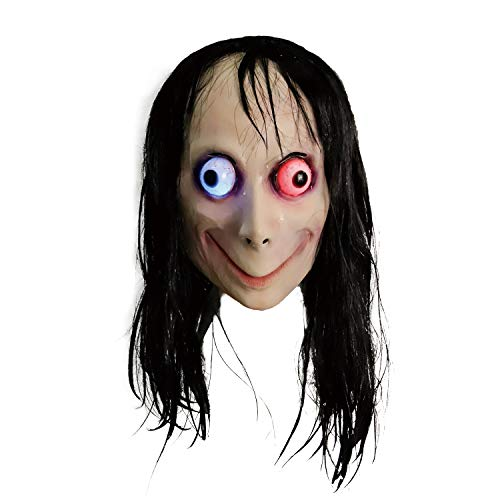 LED Light Up Creepy Momo Mask, Scary Momo Challenge Games Evil Latex Mask with Long Hair, Halloween Costume Party Props -
