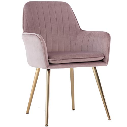 GOLDEN BEACH Elegant Velvet Dinning Chair Mid-Back Support Accent Arm Chair Modern Leisure Upholstered Chair with Gold Plating Legs (Pink Mauve)