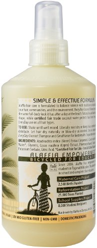Alaffia Everyday Coconut Sea Salt Texturizing Spray, 12 oz 5 100% fair trade ingredients. Paraben free. Natural sea salt adds volume and shape to hair.