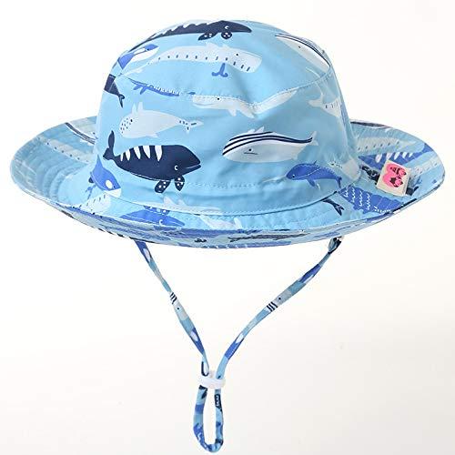 Baby sun hats kids 2.75in big fold-up brim bucket hats upf50+UV Vivobiniya 19.6in 50cm 1-2Y, whale-light blue