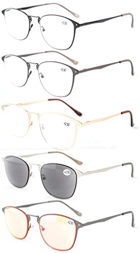 Eyekepper 5-Pack Quality Spring-Hinge Retro Reading Glasses Include Sunshine Readers and Computer Glasses +2.5