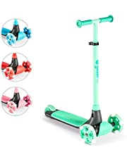 Yvolution Y Glider Kiwi   Three Wheel Kick Scooter for Kids with LED Wheels for Children Age 3+ Years