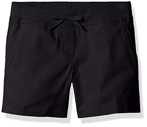 Dockers Little Girls' Uniform Twill Flat Front Short with Knit Waistband, Navy, 5 (Slim Girls Flat Front)