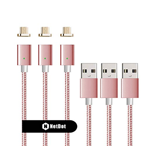 Netdot 3Pack 3rd Generation 3.3Feet USB2.0 Nylon Braided Magnetic Charging Cable Compatible with Android Device(3.3 Feet Micro USB/3 Pack Rose Gold)