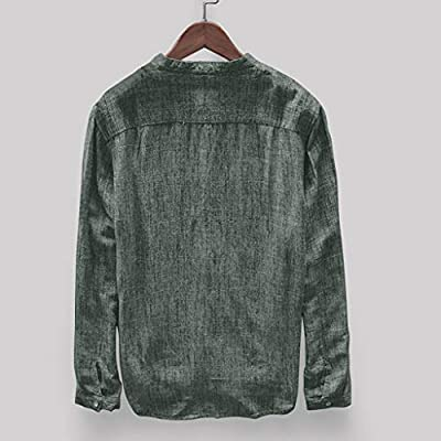 NUWFOR Fashion Mens Autumn Winter Button Casual Linen and Cotton Long Sleeve Top Blouse