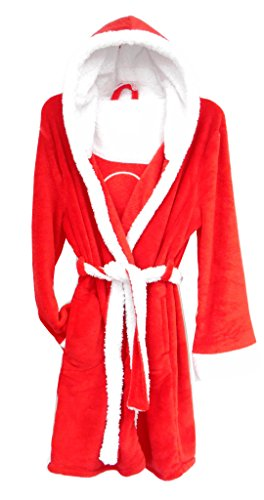 Ladies Coral Fleece Hoodie Hooded Robe Red/White One Size