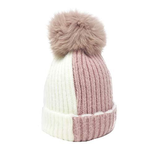 Winter Knit Caps Real Raccoon Fur Pom Pom Kids Girls Boys Wa